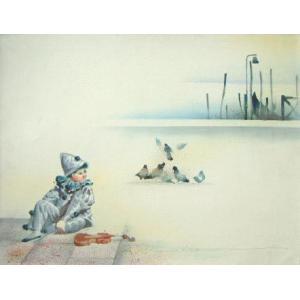 ヨーロッパ絵画 油絵 肉筆絵画 壁掛け (額縁 アートフレーム付きで納品対応可) サイズF6号 ヴィアネロ作 「ピエロ」 touo