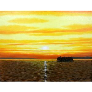 絵画 油絵 肉筆絵画 壁掛け ( 油絵額縁 アートフレーム付きで納品対応可 ) SMサイズ 「宍道湖2」 朝隈 敏彦|touo