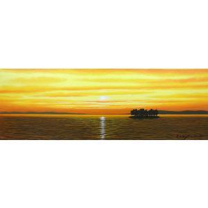 絵画 油絵 肉筆絵画 壁掛け ( 油絵額縁 アートフレーム付きで納品対応可 ) WSMサイズ 「宍道湖2」 朝隈 敏彦|touo