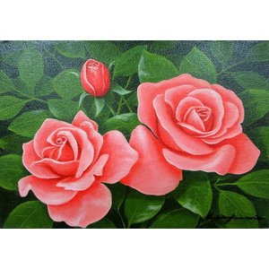 絵画 油絵 肉筆絵画 壁掛け ( 油絵額縁 アートフレーム付きで納品対応可 ) SMサイズ 「赤バラ」 朝隈 敏彦|touo