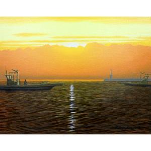 絵画 油絵 肉筆絵画 壁掛け ( 油絵額縁 アートフレーム付きで納品対応可 ) SMサイズ 「氷見漁港」 朝隈 敏彦|touo