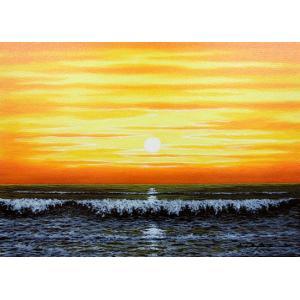 絵画 油絵 肉筆絵画 壁掛け ( 油絵額縁 アートフレーム付きで納品対応可 ) SMサイズ 「朝焼けの海」 朝隈 敏彦|touo