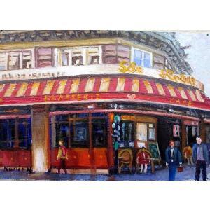 油彩画 洋画 肉筆絵画 ( 油絵額縁付きで納品対応可 ) M15号サイズ 「パリのカフェ2」 半澤 国雄|touo