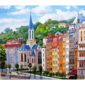絵画 油絵 肉筆絵画 壁掛け ( 油絵額縁 アートフレーム付きで納品対応可 ) F3号サイズ 「パリの街」 半澤 国雄|touo