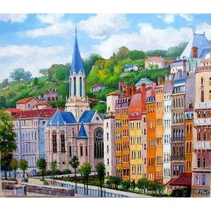 絵画 油絵 肉筆絵画 壁掛け ( 油絵額縁 アートフレーム付きで納品対応可 ) M20号サイズ 「パリの街」 半澤 国雄|touo