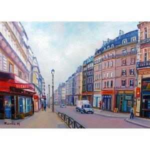 絵画 油絵 肉筆絵画 壁掛け ( 油絵額縁 アートフレーム付きで納品対応可 ) M8号サイズ 「パリの街角」 半澤 国雄|touo