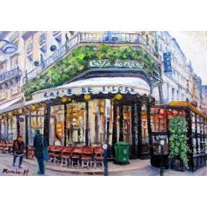 絵画 油絵 肉筆絵画 壁掛け ( 油絵額縁 アートフレーム付きで納品対応可 ) M8号サイズ 「パリのカフェ1」 半澤 国雄|touo