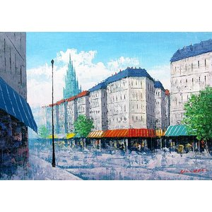 絵画 油絵 肉筆絵画 壁掛け ( 油絵額縁 アートフレーム付きで納品対応可 ) P3号サイズ 「塔のある街」 広瀬 和之|touo