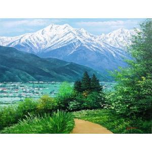 絵画 油絵 肉筆絵画 壁掛け ( 油絵額縁 アートフレーム付きで納品対応可 ) P4号サイズ 「安曇野」 広瀬 和之|touo
