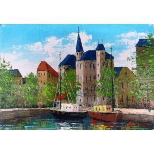 絵画 油絵 肉筆絵画 壁掛け ( 油絵額縁 アートフレーム付きで納品対応可 ) WSMサイズ 「オンフルール」 広瀬 和之|touo