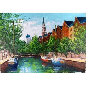 絵画 油絵 肉筆絵画 壁掛け ( 油絵額縁 アートフレーム付きで納品対応可 ) P3号サイズ 「アムステルダム」 広瀬 和之|touo