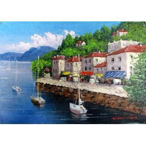絵画 油絵 肉筆絵画 壁掛け ( 油絵額縁 アートフレーム付きで納品対応可 ) M3号サイズ 「地中海」 広瀬 和之|touo