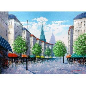 絵画 油絵 肉筆絵画 壁掛け ( 油絵額縁 アートフレーム付きで納品対応可 ) P3号サイズ 「パリの街角」 広瀬 和之|touo