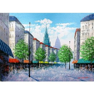 絵画 油絵 肉筆絵画 壁掛け ( 油絵額縁 アートフレーム付きで納品対応可 ) WSMサイズ 「パリの街角」 広瀬 和之|touo