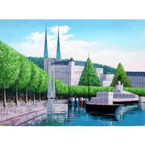 絵画 油絵 肉筆絵画 壁掛け ( 油絵額縁 アートフレーム付きで納品対応可 ) M6号サイズ 「ルツェルン」 広瀬 和之|touo