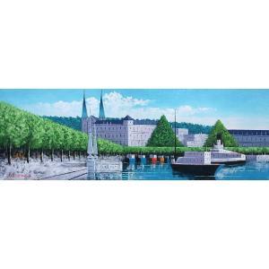 絵画 油絵 肉筆絵画 壁掛け ( 油絵額縁 アートフレーム付きで納品対応可 ) WSMサイズ 「ルツェルン」 広瀬 和之|touo