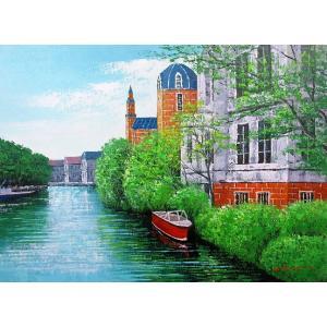 絵画 油絵 肉筆絵画 壁掛け ( 油絵額縁 アートフレーム付きで納品対応可 ) M6号サイズ 「ブルージュ」 広瀬 和之|touo