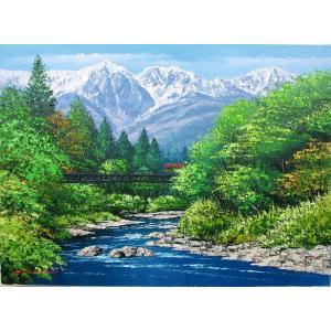 絵画 油絵 肉筆絵画 壁掛け ( 油絵額縁 アートフレーム付きで納品対応可 ) WSMサイズ 「白馬岳」 広瀬 和之|touo