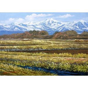 絵画 油絵 肉筆絵画 壁掛け ( 油絵額縁 アートフレーム付きで納品対応可 ) SMサイズ 「八ヶ岳」 広瀬 和之|touo