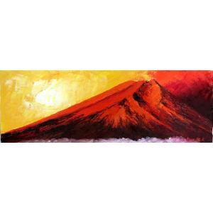 油彩画 洋画 肉筆絵画 ( 油絵額縁付きで納品対応可 ) WF6サイズ 「赤富士」 伊吹 浩一|touo