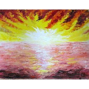 絵画 油絵 肉筆絵画 壁掛け ( 油絵額縁 アートフレーム付きで納品対応可 ) M8号サイズ 「朝焼け」 伊吹 浩一|touo