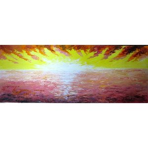 油彩画 洋画 肉筆絵画 ( 油絵額縁付きで納品対応可 ) WF6サイズ 「朝焼け」 伊吹 浩一|touo