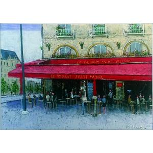 絵画 油絵 肉筆絵画 壁掛け ( 油絵額縁 アートフレーム付きで納品対応可 ) F4号サイズ 「パリのカフェ サンミッシェル」 石川 佳図|touo