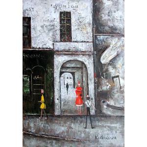 絵画 油絵 肉筆絵画 壁掛け ( 油絵額縁 アートフレーム付きで納品対応可 ) F4号サイズ 「パリの下町 ソルボンヌ」 石川 佳図 touo