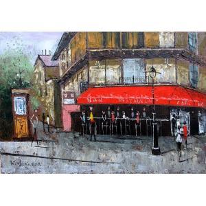 絵画 油絵 肉筆絵画 壁掛け ( 油絵額縁 アートフレーム付きで納品対応可 ) F4号サイズ 「パリの街角」 石川 佳図|touo