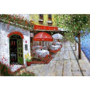 絵画 油絵 肉筆絵画 壁掛け ( 油絵額縁 アートフレーム付きで納品対応可 ) SMサイズ 「パリのカフェ」 石川 佳図|touo