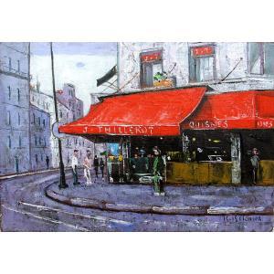 絵画 油絵 肉筆絵画 壁掛け ( 油絵額縁 アートフレーム付きで納品対応可 ) F4号サイズ 「パリの惣菜屋さん」 石川 佳図 touo