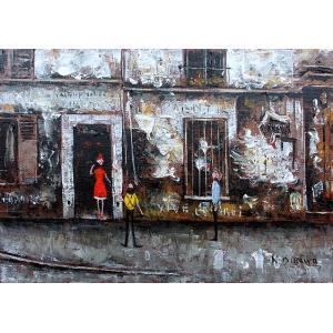 絵画 油絵 肉筆絵画 壁掛け ( 油絵額縁 アートフレーム付きで納品対応可 ) F4号サイズ 「パリの下町」 石川 佳図|touo