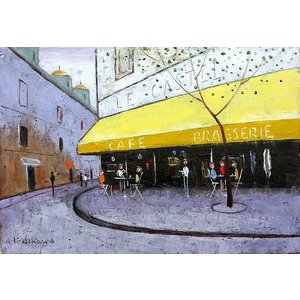 絵画 油絵 肉筆絵画 壁掛け ( 油絵額縁 アートフレーム付きで納品対応可 ) F4号サイズ 「パリの街角のカフェ」 石川 佳図|touo