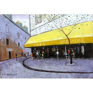 絵画 油絵 肉筆絵画 壁掛け ( 油絵額縁 アートフレーム付きで納品対応可 ) SMサイズ 「パリの街角のカフェ」 石川 佳図|touo