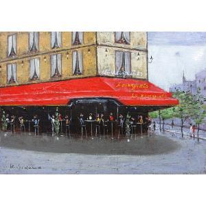絵画 油絵 肉筆絵画 壁掛け ( 油絵額縁 アートフレーム付きで納品対応可 ) F4号サイズ 「パリのカフェ ル・ツーケ」 石川 佳図 touo