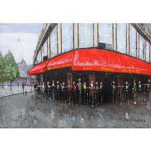 絵画 油絵 肉筆絵画 壁掛け ( 油絵額縁 アートフレーム付きで納品対応可 ) F4号サイズ 「パリのカフェ オード、ワ、マゴ」 石川 佳図|touo