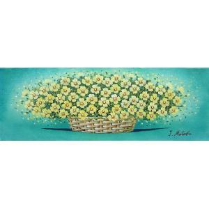 絵画 油絵 肉筆絵画 壁掛け ( 油絵額縁 アートフレーム付きで納品対応可 ) WSMサイズ 「黄色い華」 的場 錠|touo