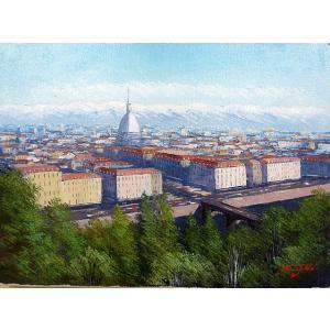 絵画 油絵 肉筆絵画 壁掛け ( 油絵額縁 アートフレーム付きで納品対応可 ) WF6サイズ 「古都 トリノの街」 中島 達幸|touo