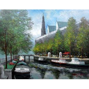 絵画 油絵 肉筆絵画 壁掛け ( 油絵額縁 アートフレーム付きで納品対応可 ) P20号サイズ 「アムステルダムの運河」 中島 達幸 touo