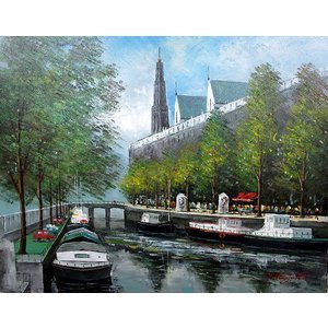 絵画 油絵 肉筆絵画 壁掛け ( 油絵額縁 アートフレーム付きで納品対応可 ) WF6サイズ 「アムステルダムの運河」 中島 達幸|touo