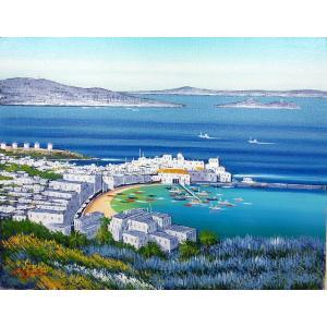 絵画 油絵 肉筆絵画 壁掛け ( 油絵額縁 アートフレーム付きで納品対応可 ) WF3サイズ 「青い海のエーゲ海 ミコノス島」 中島 達幸|touo