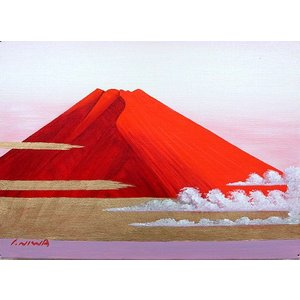 絵画 油絵 肉筆絵画 壁掛け ( 油絵額縁 アートフレーム付きで納品対応可 ) F4号サイズ 「赤富士」 丹羽 勇 touo