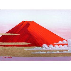 絵画 油絵 肉筆絵画 壁掛け ( 油絵額縁 アートフレーム付きで納品対応可 ) SMサイズ 「赤富士」 丹羽 勇|touo
