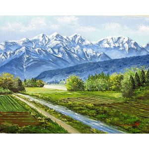 絵画 油絵 肉筆絵画 壁掛け ( 油絵額縁 アートフレーム付きで納品対応可 ) F4号サイズ 「新緑の爺岳」 丹羽 勇 touo