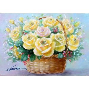 絵画 油絵 肉筆絵画 壁掛け ( 油絵額縁 アートフレーム付きで納品対応可 ) SMサイズ 「花かごイエローリリーズ」 野村 正明|touo