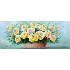 絵画 油絵 肉筆絵画 壁掛け ( 油絵額縁 アートフレーム付きで納品対応可 ) WSMサイズ 「花かごイエローリリーズ」 野村 正明|touo