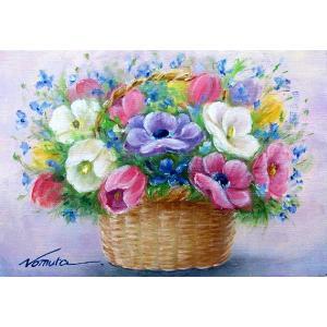 絵画 油絵 肉筆絵画 壁掛け ( 油絵額縁 アートフレーム付きで納品対応可 ) WSMサイズ 「春の花」 野村 正明|touo