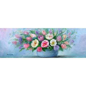絵画 油絵 肉筆絵画 壁掛け ( 油絵額縁 アートフレーム付きで納品対応可 ) WSMサイズ 「チューリップ」 野村 正明|touo