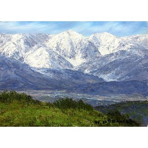 油彩画 洋画 肉筆絵画 ( 油絵額縁付きで納品対応可 ) WF6サイズ 「白馬連峰眺望」 小川 久雄|touo