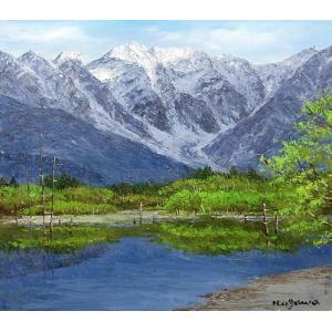 油彩画 洋画 肉筆絵画 ( 油絵額縁付きで納品対応可 ) F3号サイズ 「大正池と穂高連峰」 小川 久雄|touo